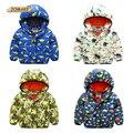Children Winter Coat Kids Thicken Jacket Boys Girls Warm Hooded Outerwear Cartoon Dinosaur Print Cotton Parkas Baby Clothes