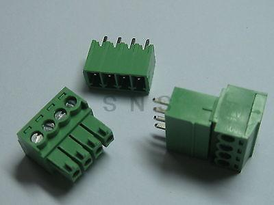 150 pcs Screw Terminal Block Connector 3.81mm 4 pin/way Green Pluggable Type 20078 2 pin pcb screw terminal block connectors green 15 piece pack