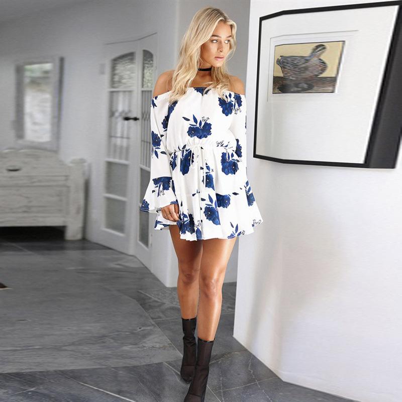 ELSVIOS Sexy Off Shoulder Slash Neck Office Dress 2017 Summer Floral Print Beach Dress Casual Flare Sleeve Women Dress Vestidos 9