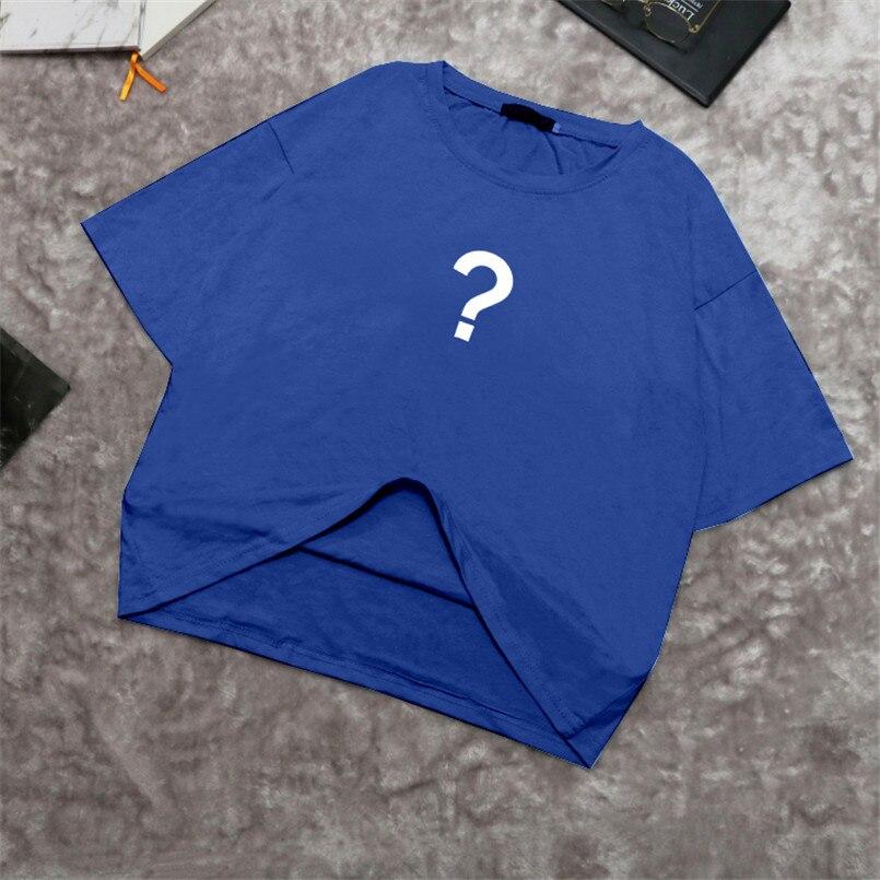 new 2019 spring summer Women cotton tops tees t-shirts half sleeve Casual tunic basic shirt t shirt letter blue