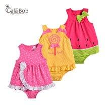CalaBob 2018 для маленьких девочек комбинезон без рукавов на лето Одежда для новорожденных девочек милый мультфильм ребенка комбинезон платье детские халаты