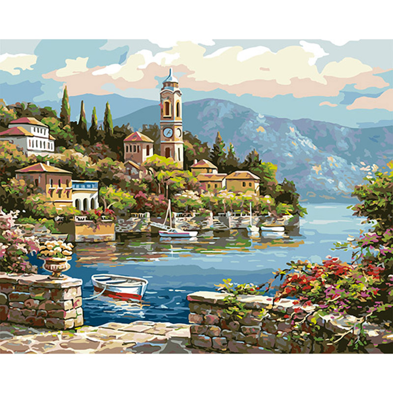 with frame picture on the wall acrylic paint diy painting by numbers Christmas gift coloring by numbers Lake scenery DY386