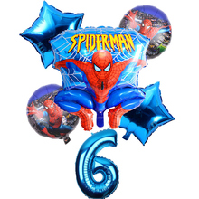 6 Pcs/set 32 Inch Number Spider-man Helium Ballon Spiderman Superhero Avengers  1-9 years Birthday Party Balloons Decorations