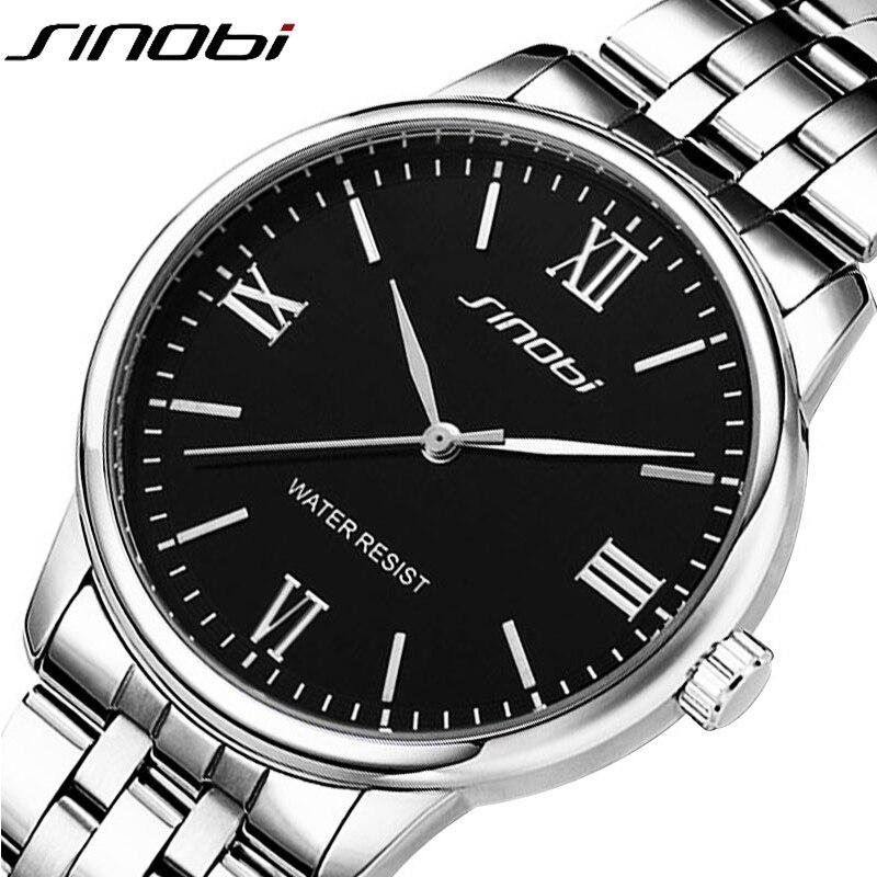 Los hombres clásicos de la moda completa de acero inoxidable de negocios reloj de cuarzo vestido reloj Relogio hombre relojes marca sinobi nuevo