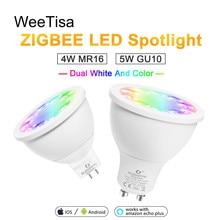 цена на RGBCCT LED Spotlight ZIGBEE 3.0 GU10 MR16 4W 5W AC 110V 220V Dimmable Light Bulb DC 12V Smart Bulb Lamp Work with Alexa Plus