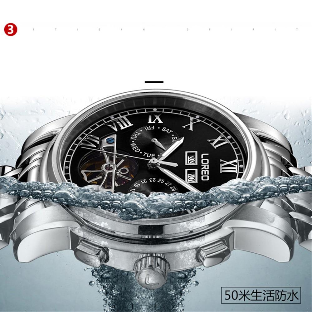 2019 marque de luxe LOREO Tourbillon montres hommes montres mécaniques saphir étanche 50m mode hommes montre heures Relogio - 6