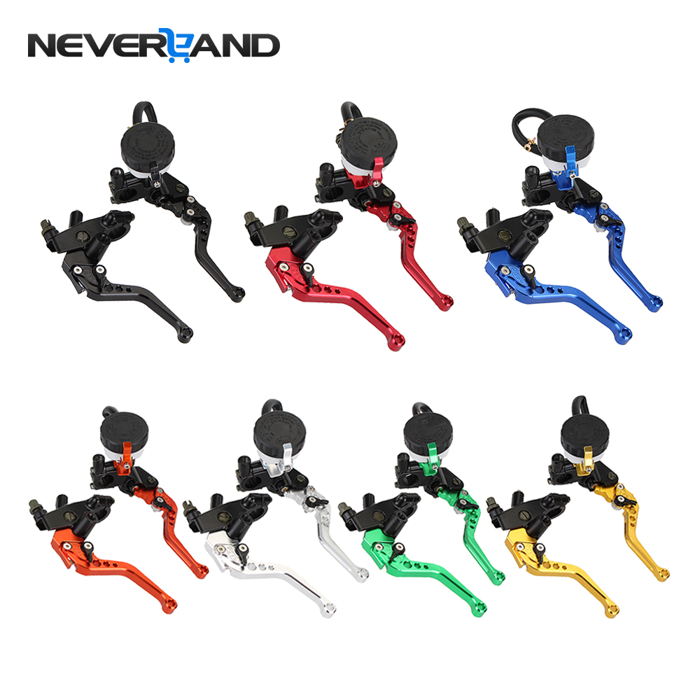 Universal Adjustable Motorcycle Brake Clutch Levers Master Cylinder Reservoir Set For Honda Suzuki Kawasaki Yamaha D10 cnc 22mm 7 8 clutch brake levers master cylinder reservoir for honda suzuki kawasaki yamaha ktm scooter dirt sport street bike