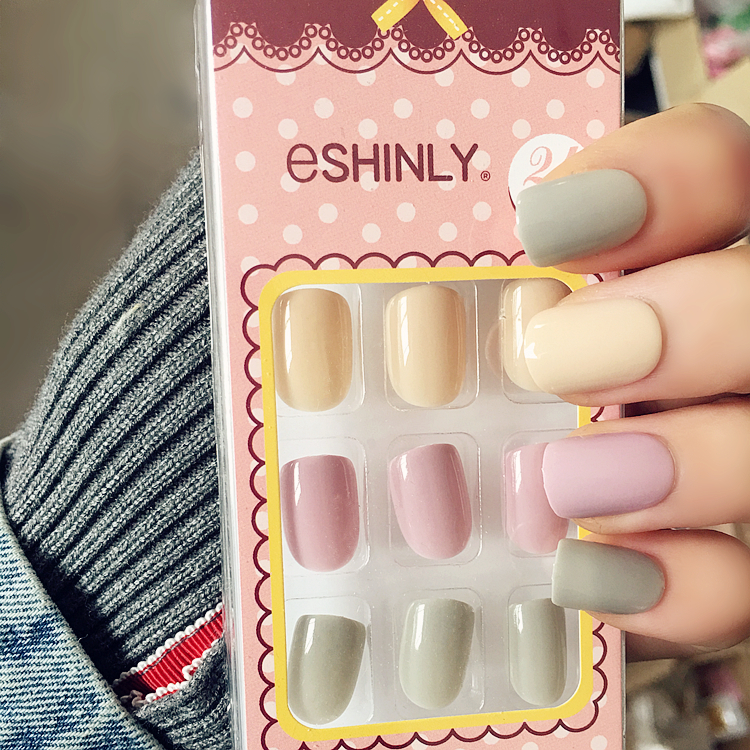 S 104Japanese Macaroon color cute gel nail tips set 24pcs candy ...
