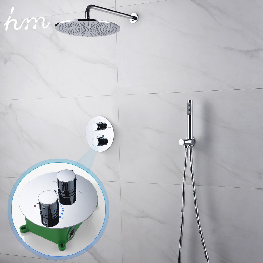 hm Thermostatic Dual Shower System 10 inch or 8 inch brass Shower set