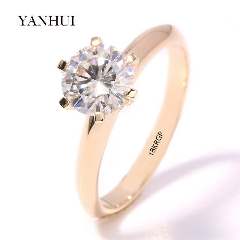 Big 95% RABATT !! Authentische 18KRGP Stempel Gelbgold Ringe Set 8mm 2 Karat Diamant CZ Zirkon Engagement Trauringe Für Frauen R169