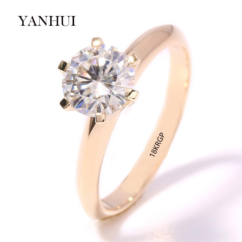 Големи 95% отстъпка !! Автентични 18KRGP печат жълто злато пръстени комплект 8 мм 2 карата диамант CZ циркон годежни сватбени пръстени за жени R169