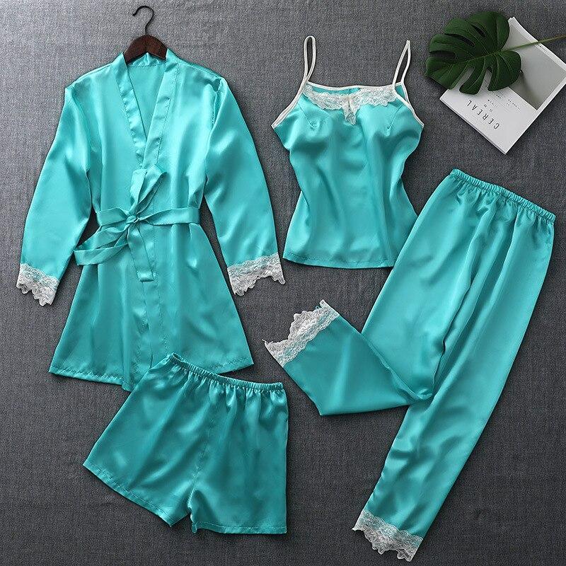 ZOOLIM Autumn Silk   Pajamas     Sets   for Women 4 Pieces Pijamas Satin Sleepwear Elegant Lace Nightwear Sexy Sleep Lounge Pyjama