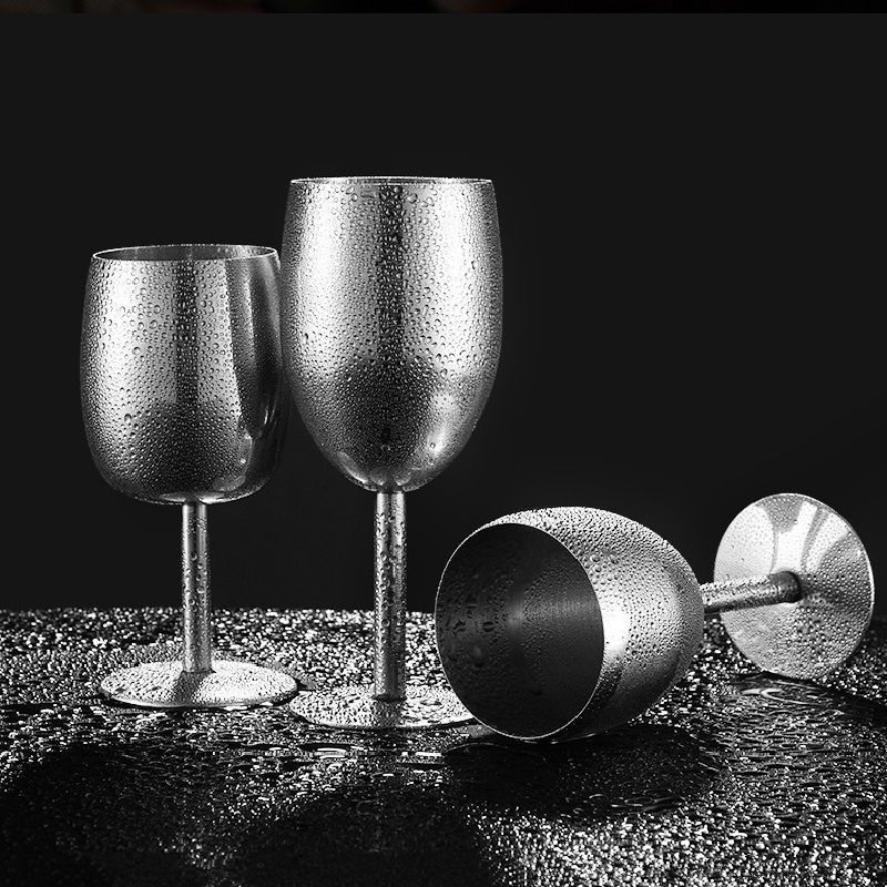 1PCS Stainless Steel Wine Glasses Gloss Metal Champagne Flutes for Wedding Party Red Wine Glass of Brandy Goblet Bar Supplies