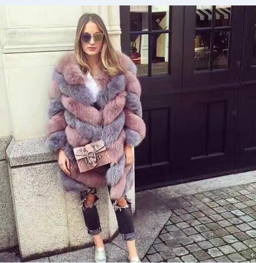 Personalizado patchwork color-Italia marcas Milán Fox Pieles de animales abrigos nueva colección 2018 Twisted estilo Piel auténtica chaquetas