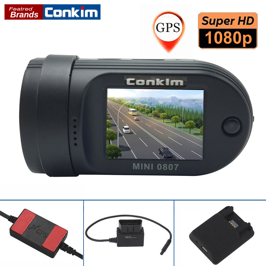 Conkim Car DVR Camera Mini 0807 Ambarella A7 1080P Full HD 1.5 LCD 24 Hours Parking DVR ADAS GPS Logger Dual TF Card hight quality gt850w shadow1 band car dvr camera 2 7 lcd 140 degrees wide angle full hd 1280x1080p gps logger opetional