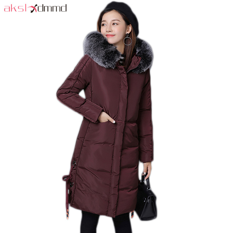 AKSLXDMMD Casual Thick Winter Jacket Women Parka 2017 New Fur Hooded Long Coat Female Solid Color Overcoat LH1203 akslxdmmd thick casual winter jacket women 2017 new parkas colorful fur hooded big pocket fashion cotton long coat female lh1219