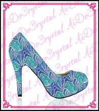Aidocrystal heißer verkauf kristall frauen kleid schuh blau high heels, strass ldies blau pumpen