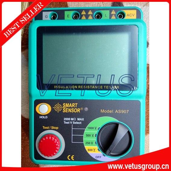 AS907 Digital Insulation tester megger price with Digital insulation tester voltage range 250V / 500V / 1000V as907a electrical resistivity measuring instruments with voltage range 500v 1000v 2500v