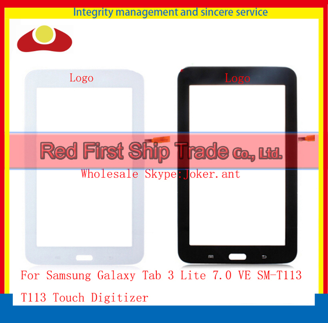 High Quality For Samsung Galaxy Tab 3 Lite 7.0 VE SM-T113 T113 Touch Screen Digitizer Sensor Glass Lens Panel White Black+Track