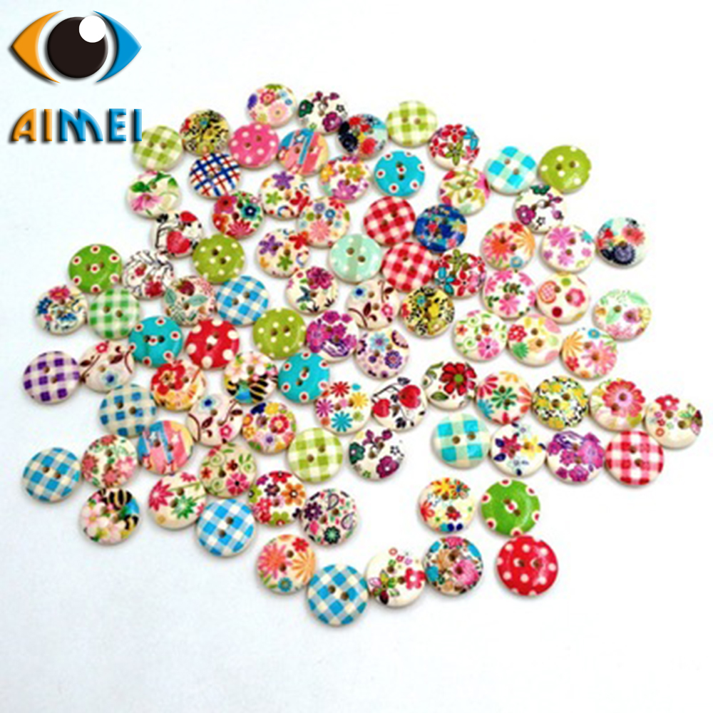 Spot direct wave point painted lattice printing wooden buttons 15mm childrens cartoon wooden button clothing accessories diy wo