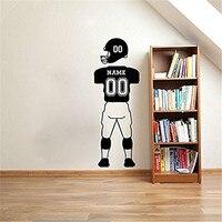 Benutzerdefinierte NAMEN und NUMMERN Fußball Player Wandtattoos Sport Jersey Uniform Hosen und Helm Vinyl Wandaufkleber Für Kinderzimmer