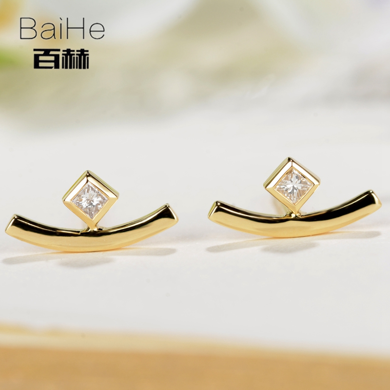 BAIHE Solid 14K Yellow Gold 0.03CT H/SI Square 100% Genuine Natural Diamond Wedding Trendy Fine Jewelry Elegant Stud Earrings