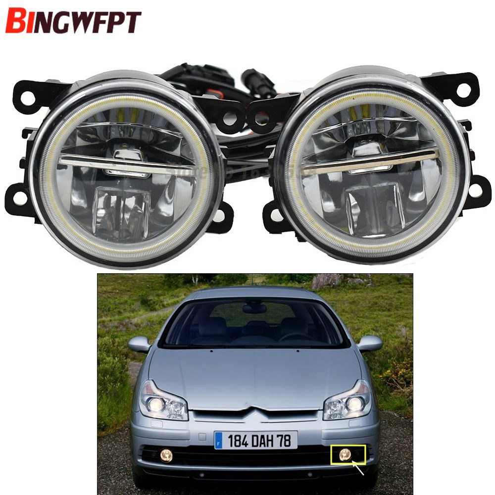 2PCS LED Fog Light with Angel Eye Daytime Running Light DRL For Citroen C5 Break RE