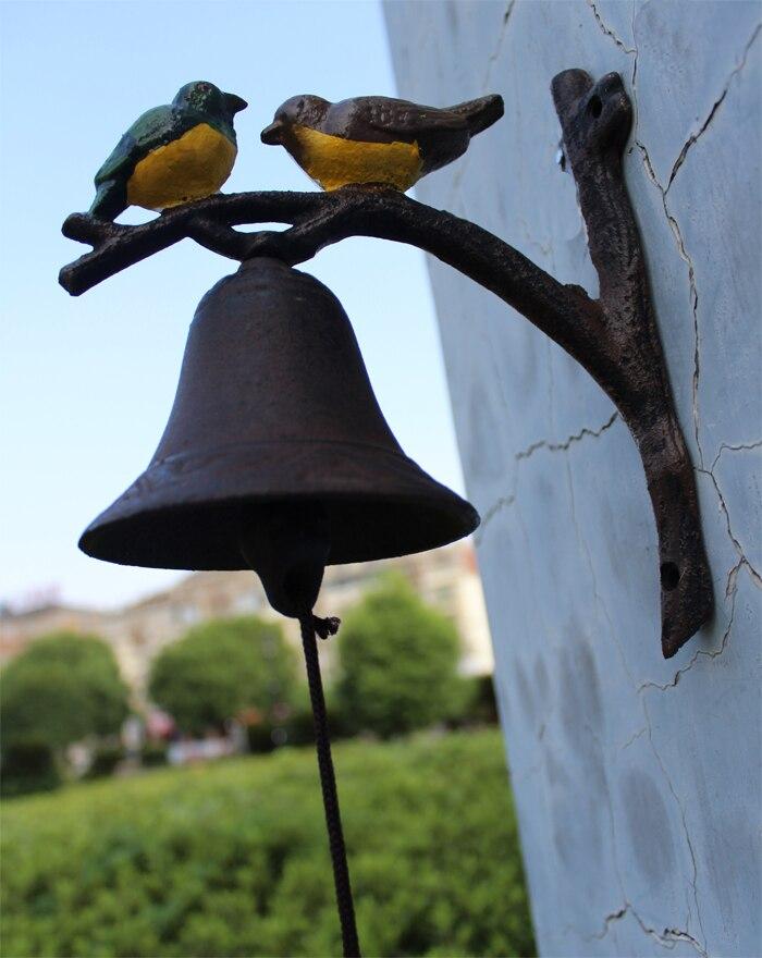 Чугун висит птица Здравствуйте Bell ужин колокол ручная роспись Изделия из металла настенный колокол на дверь Детская украшения ретро - 6