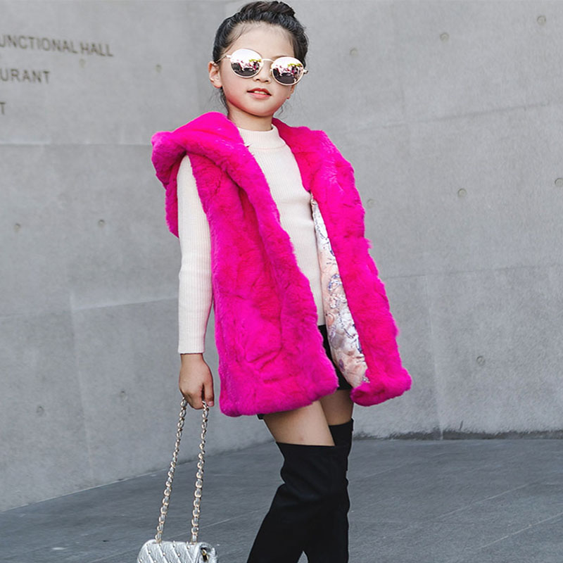 Children's Rex Rabbit Fur Vest Winter Warm Fur Vest For Girls New Thick Long Casual Vest Waistcoat Baby Outerwear WaistCoat V#22 mh rex rabbit fur winter hats female for women vintage flower top casual solid knitted caps skullies beanies w 20