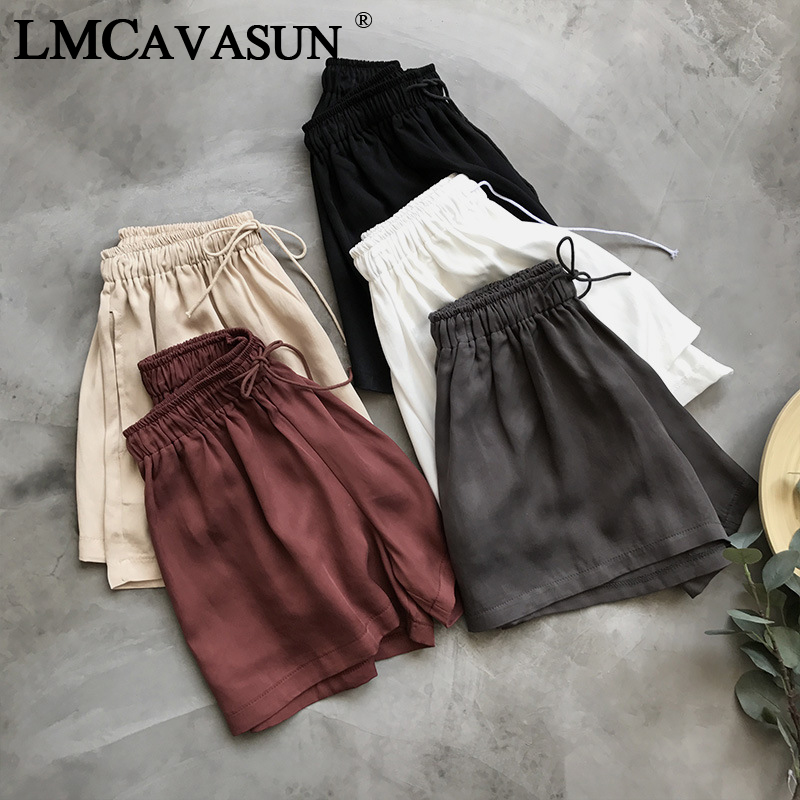 LMCAVASUN Summer Women Highwaist Satin   Shorts   High Waist Fitness Black Vintage Hotpant Korean Elastic Ladies   Short   Pant Bottom