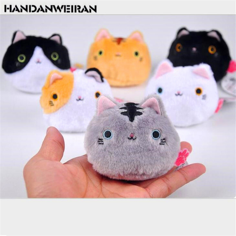 1PCS Cute Small Cat Plush Toys Doll Cartoon Cat Stuffed Toy For Girl  Keychain Bag Hanging Doll 7CM Wedding Gift Doll CHRISTMAS