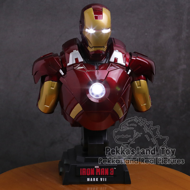 Iron Man Statue with LED Light PVC Figure Collectible Model Toy