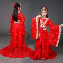 Древний китайский костюм Китайская традиционная опера Дети Девочка династии Мин Тан Хан ханьфу платье Детский костюм народный танец
