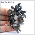 Wholesale Fashion Women Jewelry Retro Cute Flower Brooches Pin Teardrop Black Rhinestone Brooch Crystals Free Shipping 4997