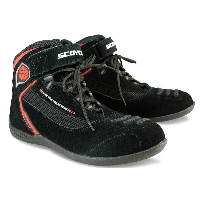 Protective Gears Scoyco MBT001 Short racing shoes motorcycle boots moto professional leather botas Motorbike ATV race Men Women недорого