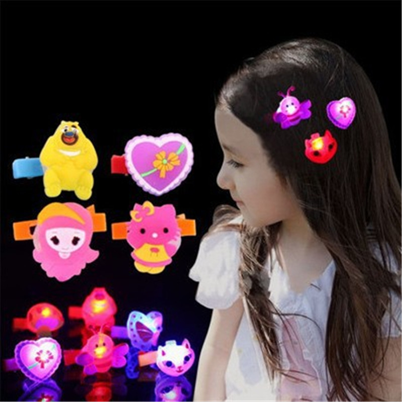 5pcs Cartoon Glowing Hair Clip Soft Flash Tail Hairpin Glow Sticks Light Stick Party Camping Emergency glowing in the dark toys