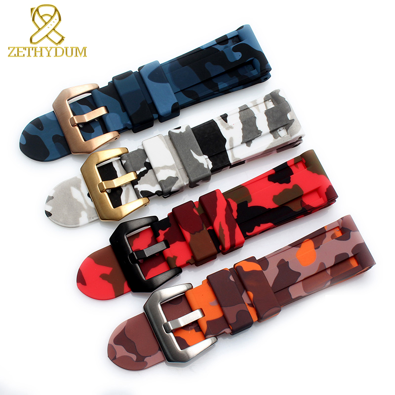 Silicone Rubber Bracelet Watchband 22mm 24mm Sport  Watch Strap Camouflage Color Wristband Waterproof Accessories Belt For PAM