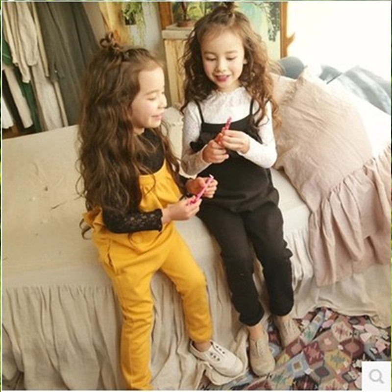 Spring Autumn Girls Overalls Casual Solid Color Children Jumpsuit for Girls Kids Overalls Black Yellow Kids Clothes