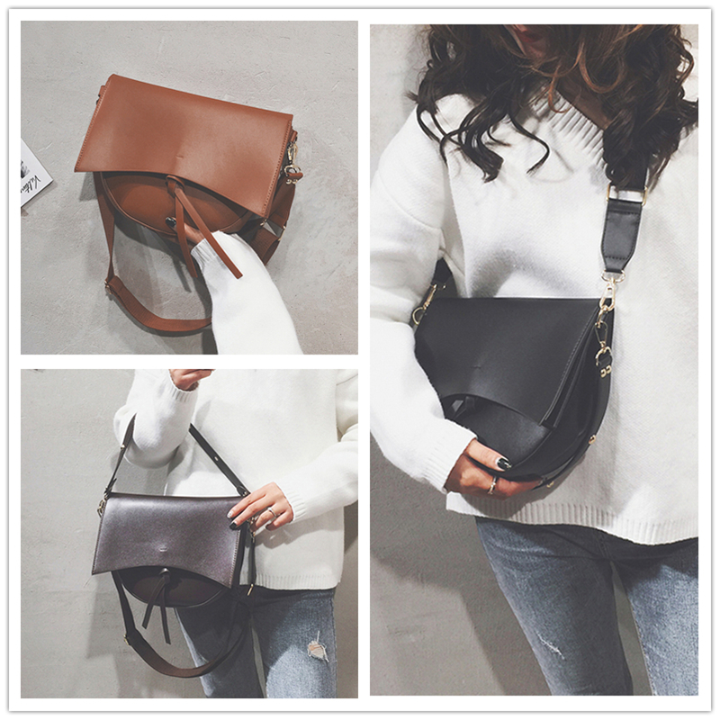 Burminsa Vintage Saddle Female Shoulder Bags Wide Strap Large Capacity Ladies Hand Bags PU Leather Crossbody Bags For Women 2019