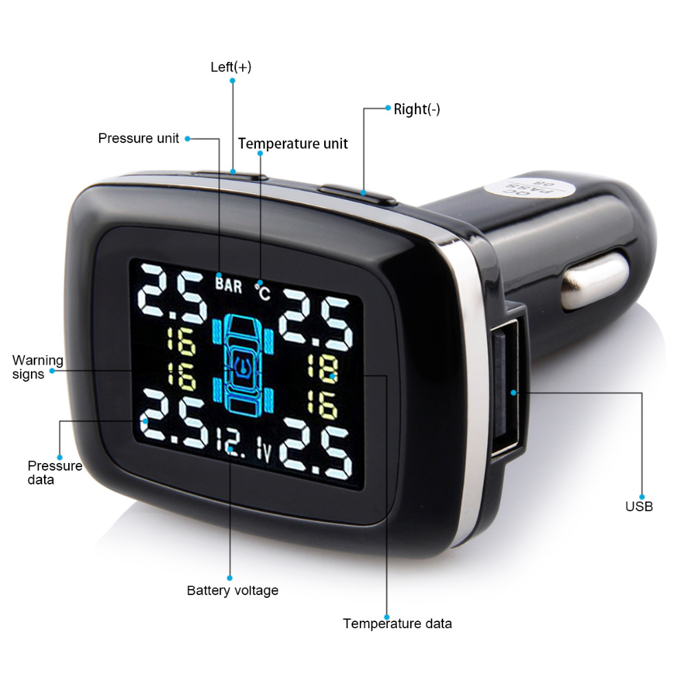 TP620 Smart Car TPMS Tire Pressure Monitoring System Cigarette Lighter Power Alarm Systems with 4 internal