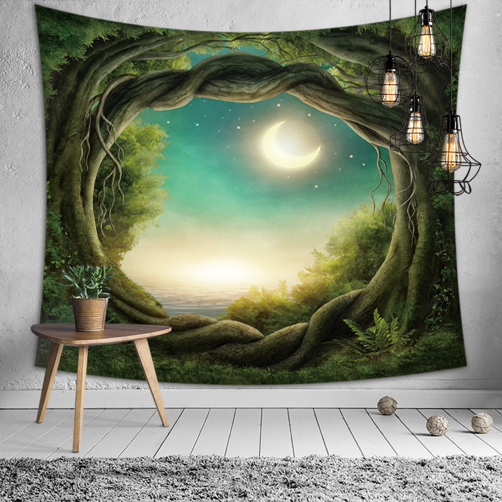 3d Tree Hole Psychedelic Tapestry Wall Hanging Nature Landscape Hippie Bohemia Bedroom Headboard Throw Blanket Wall Carpet Tapiz