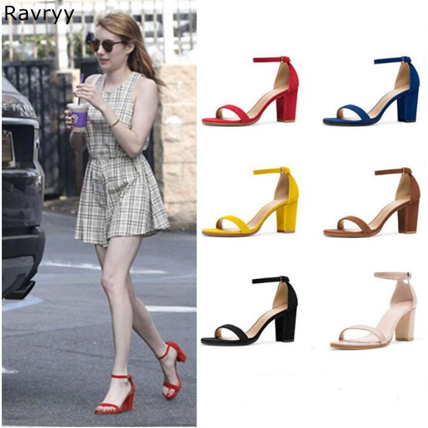 Summer fashion ankle buckle suede leather woman sandals yellow red black Sexy Pumps thick heel female party dress shoes plus size 34 46 fashion sexy summer sandals ankle buckle high heel shoes dress women cut outs pointed toe thick heel party pumps