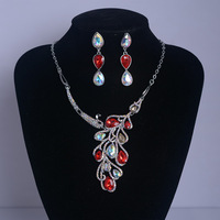 Luxury Crystal Color Phoenix Short Clavicle Necklace Earrings Set Bridal Jewelry Decoration