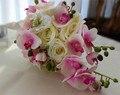 Cascada de la Cascada de La Boda Ramos de Flores de Color Rosa Orquídea Mariposa Nupcial Ramos de Flores Artificiales de Rose Water Drop Novia Con Flores