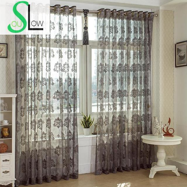 Slow Soul Dark Grey Curtain Ventilation Light Pleated Europe Floral Tulle Curtains For Living Room Kitchen