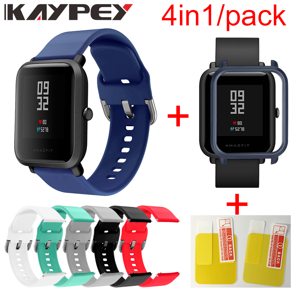 4in1 Silicone Wrist Strap Sports Wristband Bracelet Case Cover For Xiaomi Huami Amazfit Bip BIT Smart Watches Accessories