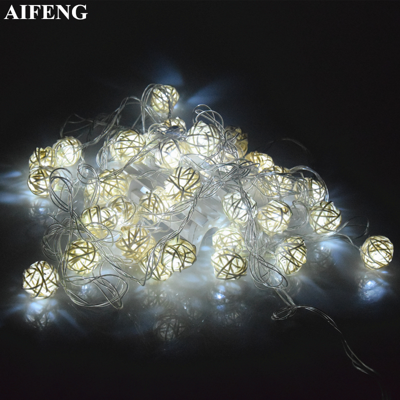 AIFENG Led String Rattan Light 1.2M 2.5M 5M 10M Rattan Ball Led String Fairy Lights For Christmas Wedding Party Decoration Lamps