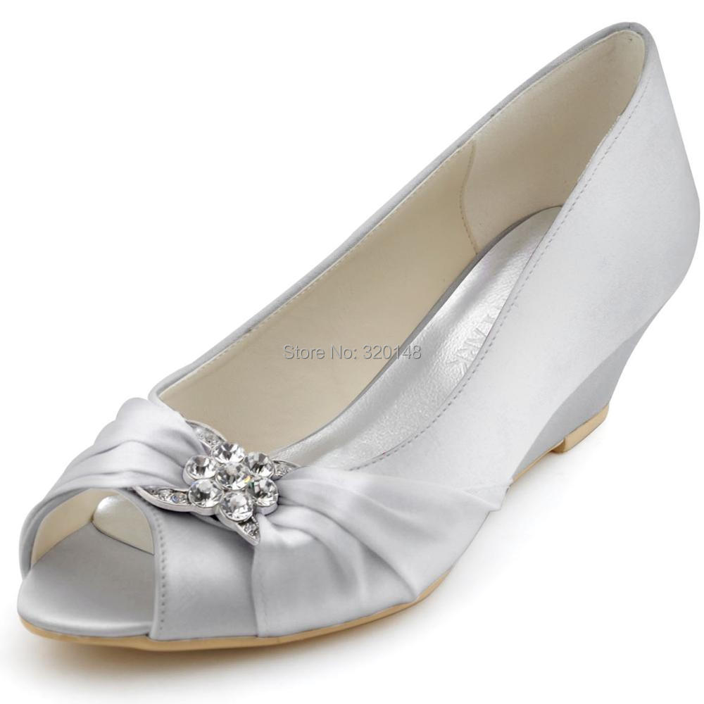 1d0e9c05b14 US $41.99 16% OFF|Woman Wedding Wedges WP1403 White Ivory Silver Peep Toe  Rhinestone Med Heels Satin Ladies Bride Bridal Shoes Prom Dress Pumps-in ...