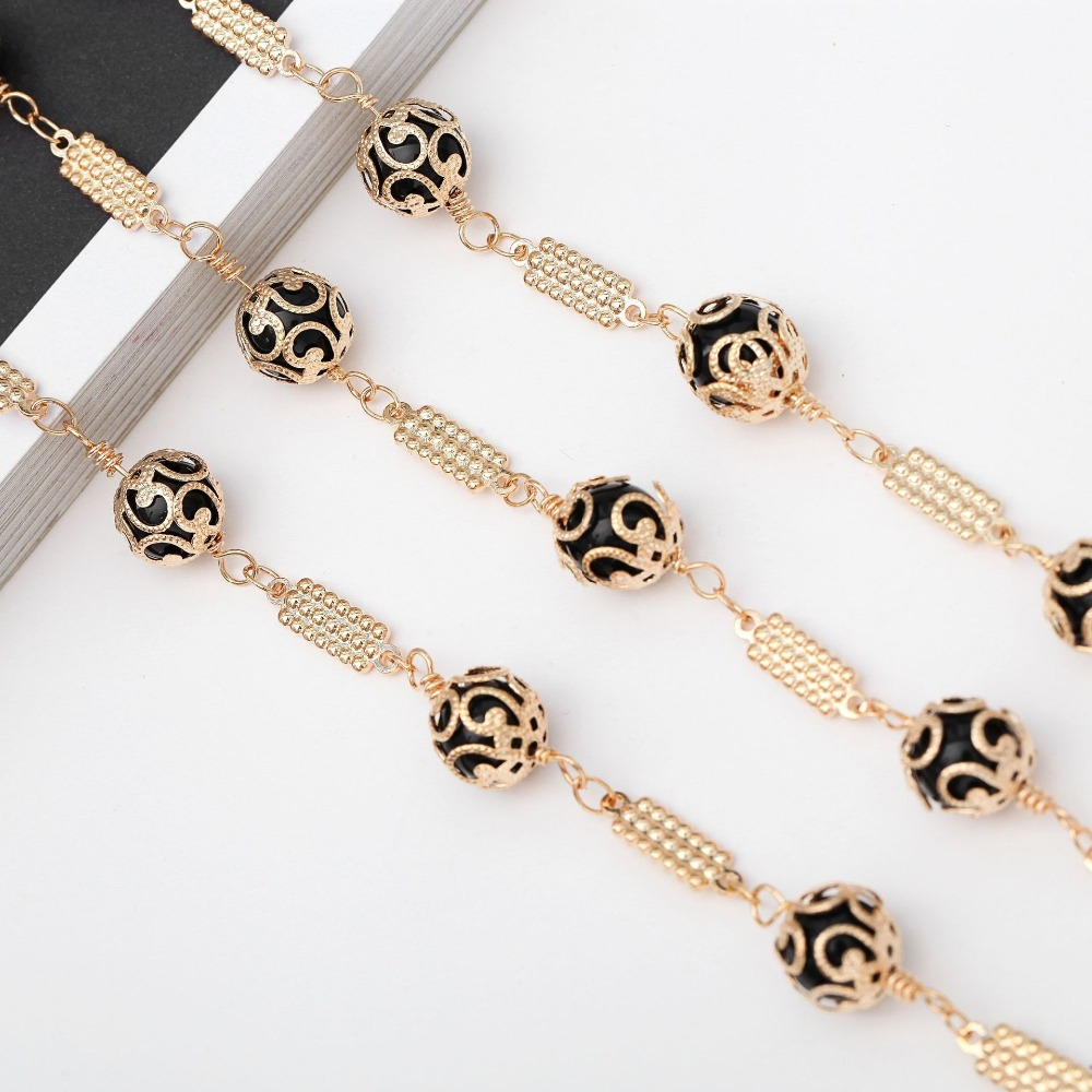 High Quality 70CM Luxurious Openwork Pattern Sunglasses Lanyard Strap Necklace Eyeglass Black Beads Chain Cord For Dinner Party