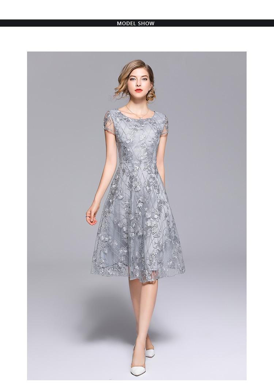 d4e2ef6cb6 SMSF 2018 Summer Women Embroidery Mesh Dress Deep V Back Casual ...